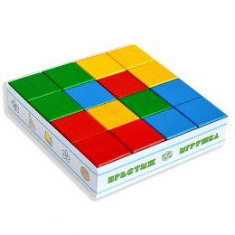 Кубики цветные - 16 дет. в картонной коробке